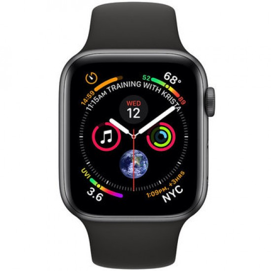 Apple Watch Series 4 44mm (GPS) Space Gray Aluminum Case with Black Sport Band