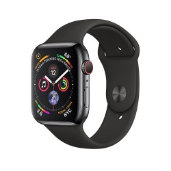 Apple Watch Series 4 44mm (GPS+LTE) Space Black Stainless Steel Case with Black Sport Band (MTV52)
