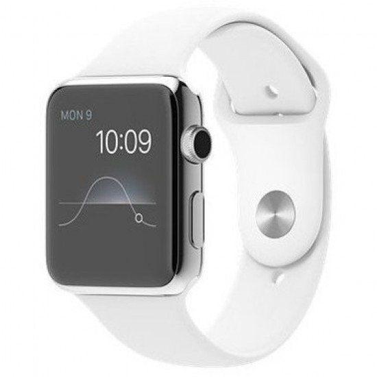Apple Watch 42mm Stainless Steel Case with White Sport Band (MJ3V2)