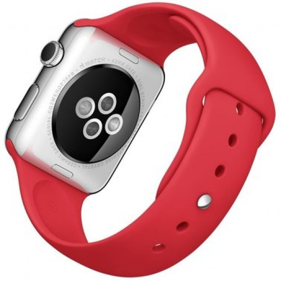 Apple Watch 42mm Stainless Steel Case with Product Red Sport Band (MLLE2)