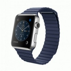 Apple Watch 42mm Stainless Steel Case with Midnight Blue Leather Loop (MLFD2)