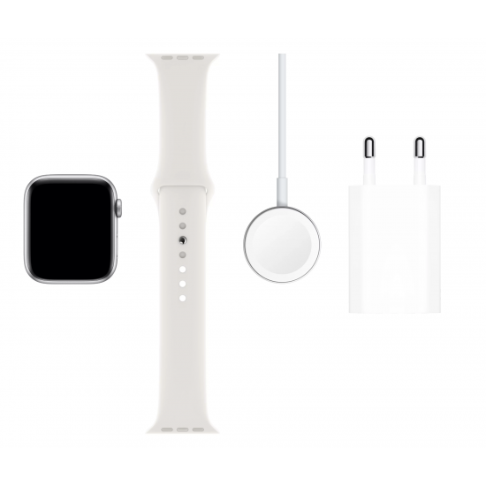 Apple Watch Series 5 44mm Silver Aluminum Case with White Sport Band MWVD2