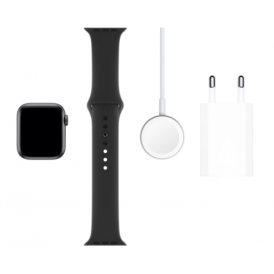 Apple Watch Series 5 44mm Space Gray Aluminum Case with Black Sport Band MWVF2