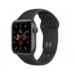 Apple Watch Series 5 40mm Space Gray Aluminum Case with Black Sport Band MWV82