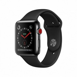 Apple Watch Series 3 38mm LTE Space Black Stainless Steel Case with Black Sport Band (MQLW2)
